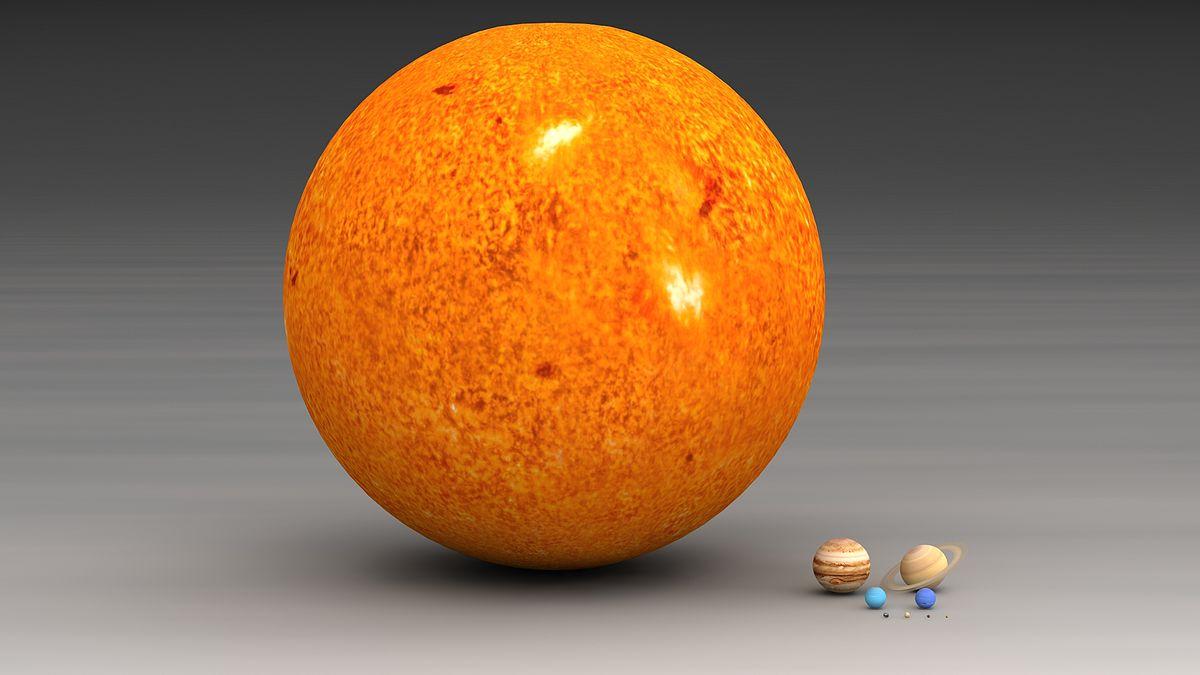 porównanie rozmiaru słońca i planet By Lsmpascal - Own work, CC BY-SA 3.0