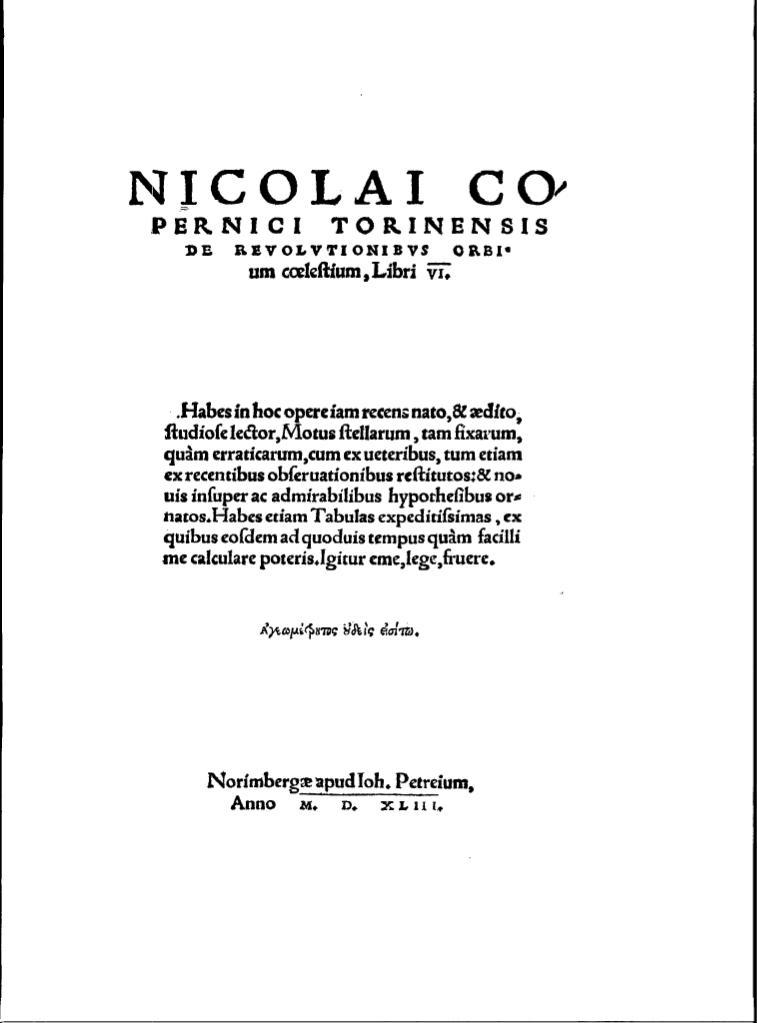 O obrotach sfer niebieskich, Mikołaj Kopernik